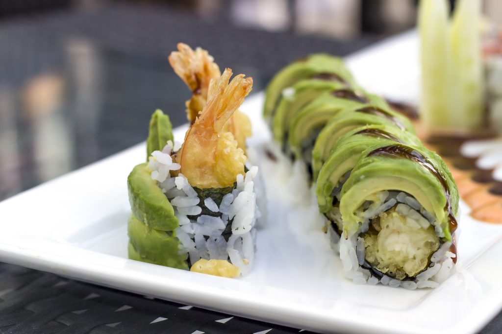 7 Sushi Rolls With Avocado Toppings
